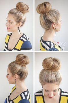 Hair Romance - 30 Buns in 30 Days - Day 21 - High Sock Bun Hairstyle