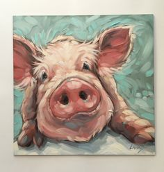 Pig painting, Original impressionistic oil painting of a sweet little pig. Perfect for a nursery or childs room with a farm theme. 10x10 on fine art panel. *This painting is fresh off the easel. This little piggy will be ready to ship Aug 22th. This is an estimate of how long it will take to dry and ship safely. I will notify you if it is ready to ship sooner. Professional fine art board is 1/8 thick. Artwork is photographed and the image is adjusted to match the original painting as cl...