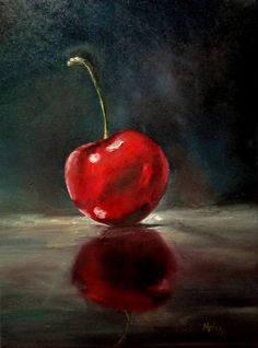 """""""Cereja"""" - Pintura a óleo sobre tela inspirada em trabalho de Michael Naples (última etapa - 20/1/16) (*)"""