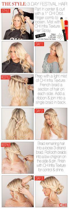 Hair How To: 3 Day Festival Hair #Coachella #vfest #festival