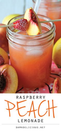Raspberry Peach Lemonade - Fresh raspberries and peaches add such a wonderfully fruity flavor in this refreshing drink!