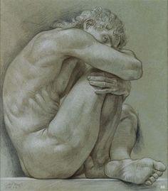 Male Nude. 1981. Paul Cadmus. American. 1904-1999. color crayon.