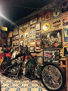 Motorcycle Storage Shed, Motorcycle Workshop, Motorcycle Shop, Motorcycle Garage, Garage Organisation, Man Shed, Ultimate Man Cave, Custom Choppers, Man Cave Garage