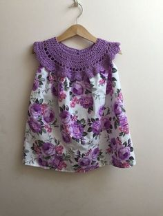 Items similar to Lila-Rose Clothing intrecate croched lavender yoke with cotton rose print fabric, girls summer dress, girls crochet dresd on Etsy Baby Summer Dresses, Baby Girl Dresses, Baby Dress, Crochet Tutu Dress, Crochet Fabric, Baby Girl Crochet, Crochet Baby Clothes, Rose Clothing, Crochet Collar