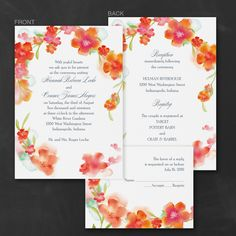 Watercolor Flowers - ValStyle Invitation - Mango