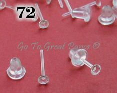 72 Plastic Earring Posts, Clear Plastic Studs w/ Backs, make 36 pairs of hypoallergenic earrings or use as Invisible Ear Piercing Retainers Crystal Jewelry, Crystal Earrings, Beaded Jewelry, Diy Jewelry, Fashion Jewelry, Beading Supplies, Jewelry Supplies, Craft Supplies, Piercing Retainers
