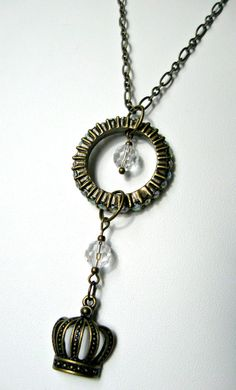 Jewelry, Necklaces, Metal - Brass necklace with Crystal Studded Hoop Pendant and Crown Charm - Gift Ideas