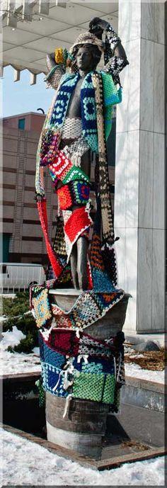 Happy Hookers Detroit yarn bombing
