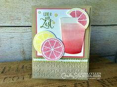 Coffee & Crafts Class: Live with Zest | Stampin Up Demonstrator Linda Cullen | Crafty Stampin' | Purchase your Stampin' Up Supplies | Lemon Zest Stamp Set | Coffee Cups Framelits  | Garden Trellis Embossing Folder | Glitter Enamel Dots