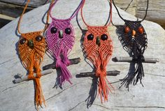 macrame owl necklace how to - Google Search