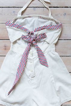 ☾ Vintage 1940s Sailor Playsuit ☽ Amazing rare 1940s playsuit romper in white cotton with nautical red and blue striped accents. Halter top