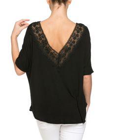 Black Lace V-Back Dolman Top