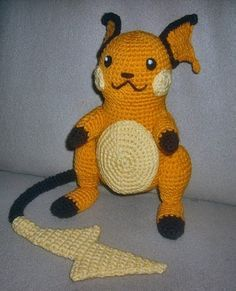 Crochet Raichu and free pattern...lots of other pokeman as well.