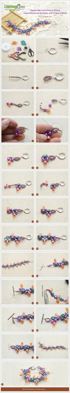Step-by-step Instructions on Making Inspired Bohemian Bracelets with 4 Types of Beads