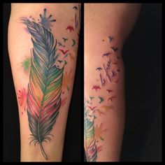 http://www.oksanaweber.com rainbow gay pride feather with birds tattoo. Watercolor tattoo