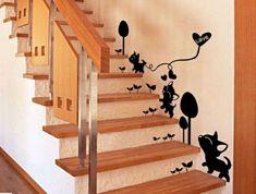 Wandtattoo Deko Treppe Wand Katzen Hunde Muster