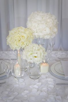 Modern Shabby Chic White Centerpiece Winter Wedding Flowers Photos & Pictures - WeddingWire.com