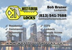 Family owned and operated, West Florida Locks specializes in residential, commercial and automotive locksmith services. We proudly serve all of the Tampa Bay Area, including Hillsborough, Sarasota, Pinellas and Pasco counties. Our knowledgeable, local locksmiths are prepared for any kind of lockout or rekey situation.  At West Florida Locks, our goal is to keep our valued customers, develop new business, and deliver honest, dependable, quality service at reasonable prices.