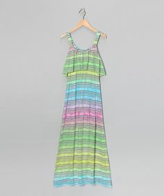 Take a look at this Mint & Fuchsia Stripe Maxi Dress - Girls by Btween on #zulily today!