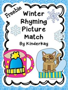FREEBIE: Students match the pictures on the hot chocolate mugs to the pictures on the mittens using rhyming words skills. A cut and paste matching recording sheet is included. Rhyming Preschool, Rhyming Activities, Preschool Learning Activities, Winter Activities, Preschool Winter, Kindergarten Language Arts, Kindergarten Reading, Kindergarten Classroom, Rhyming Pictures