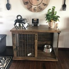 We absolutely love getting pictures from happy customers! Here is one of our recent sliders in its new home. Looks great! | Custom Dog Kennel Crate Furniture Sliding Door | Ingrained Builders