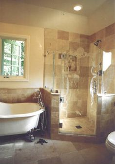 Claw foot tub and corner shower