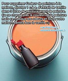 Vous voulez faire partir l'odeur de peinture fraîche chez vous ? C'est vrai que c'est désagréable, ces odeurs, surtout si c'est dans une pièce comme la chambre. Pour éliminer ces odeurs. L'astuce est d'ajouter 1 cuillère à soupe d'extrait de vanille dans le pot de peinture :  Découvrez l'astuce ici : http://www.comment-economiser.fr/enlever-odeur-de-peinture-fraiche.html?utm_content=buffer9c8d7&utm_medium=social&utm_source=pinterest.com&utm_campaign=buffer