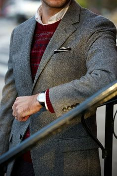 Dapper menswear combo of a wool jacket, patterned sweater and black + white pocket square. men's fashion and style Sharp Dressed Man, Well Dressed Men, Holiday Party Outfit, Party Outfits, Look Street Style, Look Man, Cocktail Attire, Mens Attire, Gentleman Style