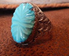 Native American Jewelry, Hand carved, vintage, sterling, turquoise ring, size 12,  Texas, southwest jewelry, estate jewelry, vintage jewelry by LittleCherokeeValley on Etsy