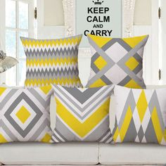 Gray and yellow throw pillows for living room, modern minimalist style. Geometric contemporary throw pillows for couch, cushions sets linen fabric, filled with PP cotton, with zipper. Modern Cushion Covers, Modern Cushions, Geometric Cushions, Scatter Cushions, Yellow Throw Pillows, Grey Pillows, Sofa Throw, Grey And Yellow Living Room, Grey Pillow Cases