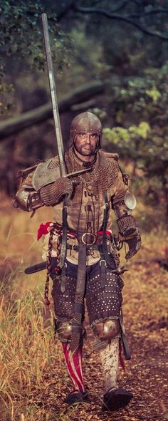 Armor 1480-1550, military campaign armored German landsknecht, mercenarie, German katzbalger, German flail, poleaxe hammer, gambeson, Bishop's mantel, jack chains, splint bracers, chainmail gloves,  Brigandine upper leg armor, open face sallet.