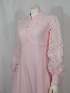 Best 12 Vintage Dress Seventies Baby Pink Eyelet Formal Juliet Style Long Sleeve V Neck Button Front Prairie Style Hippie Boho Prom Wedding Would be a great prom or wedding party dress So when else would you have found a polyester eyelet prairie Stylish Dresses For Girls, Stylish Dress Designs, Casual Dresses, Fashion Dresses, Pakistani Dress Design, Pakistani Outfits, Kurti Neck Designs, Blouse Designs, Indian Designer Outfits