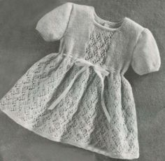 Lace Baby Girl Dress Vintage Knitting Pattern Automatic PDF Download with Freebie Included
