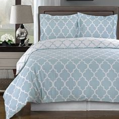 Modern Moroccan Light Blue and White Cotton Duvet Comforter Cover and Shams Set - Geometric Trellis Lattice Pattern Reversible 3 piece Bedding Set - Matching Window panels curtains available.  Great look for a trendy bedroom decor!