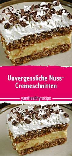 Ingredients for the dough: 80 g sugar 100 g nuts, ground 100 g butter biscuits or ladyfingers, . Easy Cake Recipes, Dessert Recipes, Dessert Blog, Vanilla Flavoring, Food Cakes, Biscuits, Healthy Desserts, Nutella, Cake Decorating