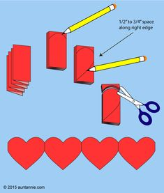 How to cut paper heart chains