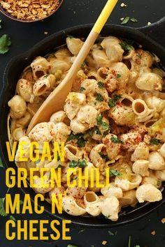 Vegan Green Chili mac n Cheese! minimalistbaker.com #vegan. Made Just Right. Plant Based. Earth Balance.