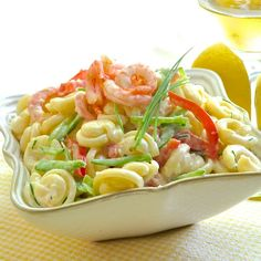 Lemon Shrimp Pasta Salad with a creamy, low fat yogurt based dressing! With a low fat, yogurt based dressing this shrimp pasta salad makes a sensible addition to your summer BBQ table or as a side dish at any time of the year. Pasta Salad Recipes, Seafood Recipes, Cooking Recipes, Healthy Recipes, Lemon Recipes, Meat Recipes, Healthy Meals, Delicious Recipes, Cake Recipes