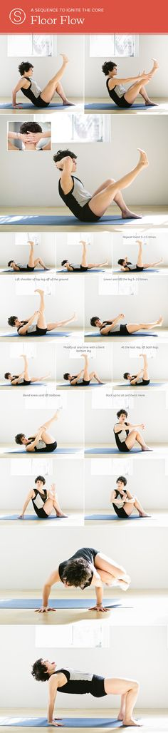 A Yoga Sequence to Develop Inner Strength  |  Repeat the flow outlined above once on each side. When you are in the twisted abdominal crunches, repeat 5 to 15 times on each side, keeping the elbows still to activate the core more efficiently.