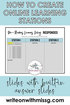 How to Structure Learning Stations Online - Write on With Miss G Learning Stations, Learning Apps, Learning Resources, Teaching Technology, Technology Lessons, Technology Integration, Educational Technology, Teaching Strategies, Teaching Tips