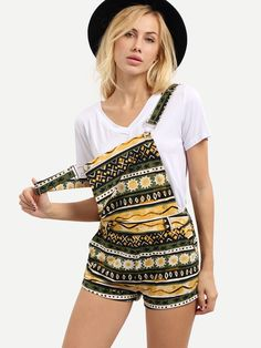 Multicolor+Print+Suspender+Pocket+Jumpsuit+32.00