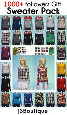 10 Recolors + one mesh with 14 colors at JSBoutique via Sims 4 Updates