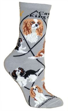 Cavalier King Charles Dog Breed Gray Lightweight Stretch Cotton Adult Socks