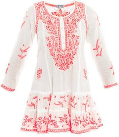Juliet Dunn Neon embroidered long sleeve beach dress cotton  tunic cover up