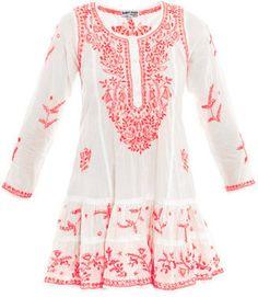 Juliet Dunn Neon embroidered long sleeve beach dress