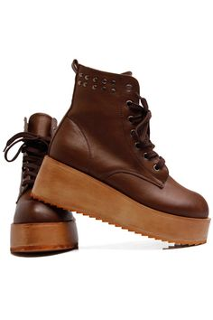 ROMWE offers Rivets Brown Wedge-soled Ankle Boots   more to fit your  fashionable needs. cf6451fed082f