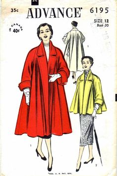 1950s Advance 6195 Vintage Sewing Pattern Misses Coat Pattern in Two Lengths: V. 1, full length coat. View 2, short length coat (optional lining). Size: 12 Bust: 30 Waist: 25 Hip: 33 Copyright: 1952 Pattern is: Factory cut & factory folded; unprinted pattern pieces Envelope condition: Good, lightly tanned, store stamp NOTE: This is the original pattern, not a PDF or a reproduction. @@@@@@@@@@@@@@@@@@@@@@@@@@@@@@@@ Check out the rest of the items I hav...
