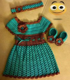 This Pin was discovered by Phy Crochet Toddler, Baby Girl Crochet, Crochet Baby Clothes, Crochet For Kids, Baby Dress Patterns, Baby Girl Dresses, Beautiful Crochet, Toddler Dress, Crochet Lace