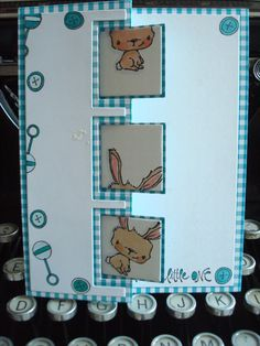 Trifold sizzix Baby card Karte purple onions design buttercup bunny