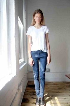 white tee, skinny jeans, black gladiators